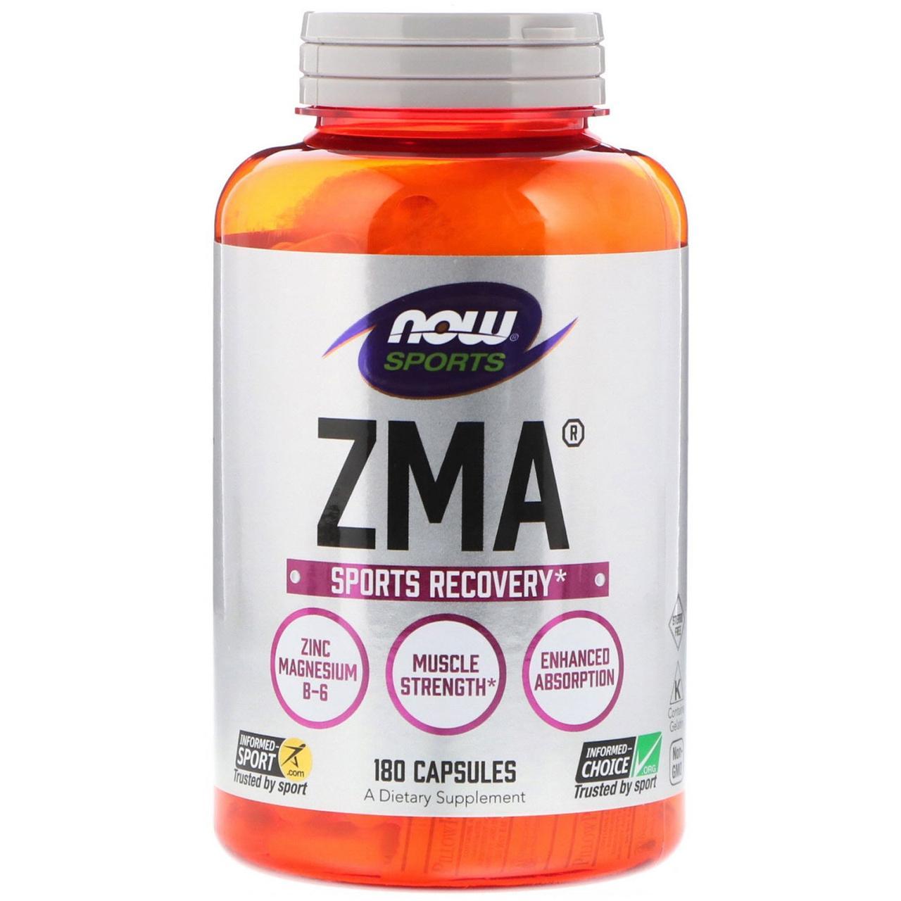 Цинк и магний, Now Foods, комплекс ZMA,180 капсул