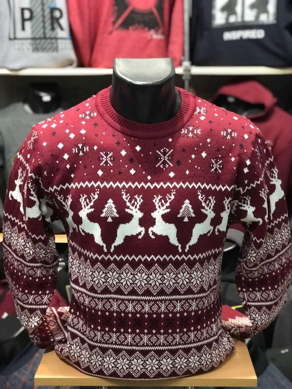 Свитер с оленями, новогодний, вязаный мужской. Турция Красный