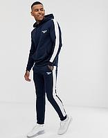 Тренировочный зимний мужской костюм Reebok, Рибок, в стиле, синий