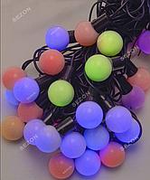 Гирлянда ШАРИКИ 25мм 40 LED, черный провод,7 м+переходник, мульти цвет