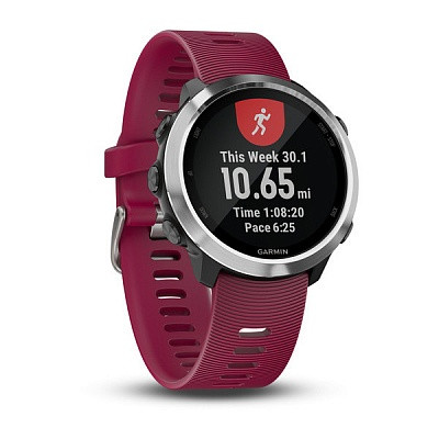 Смарт-годинник Garmin Forerunner 645 Music Cerise with Stainless Hardware з Малиновим Ремінцем