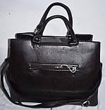 Женская каштановая сумка из кожзама с ремешком 36*27 см, фото 3