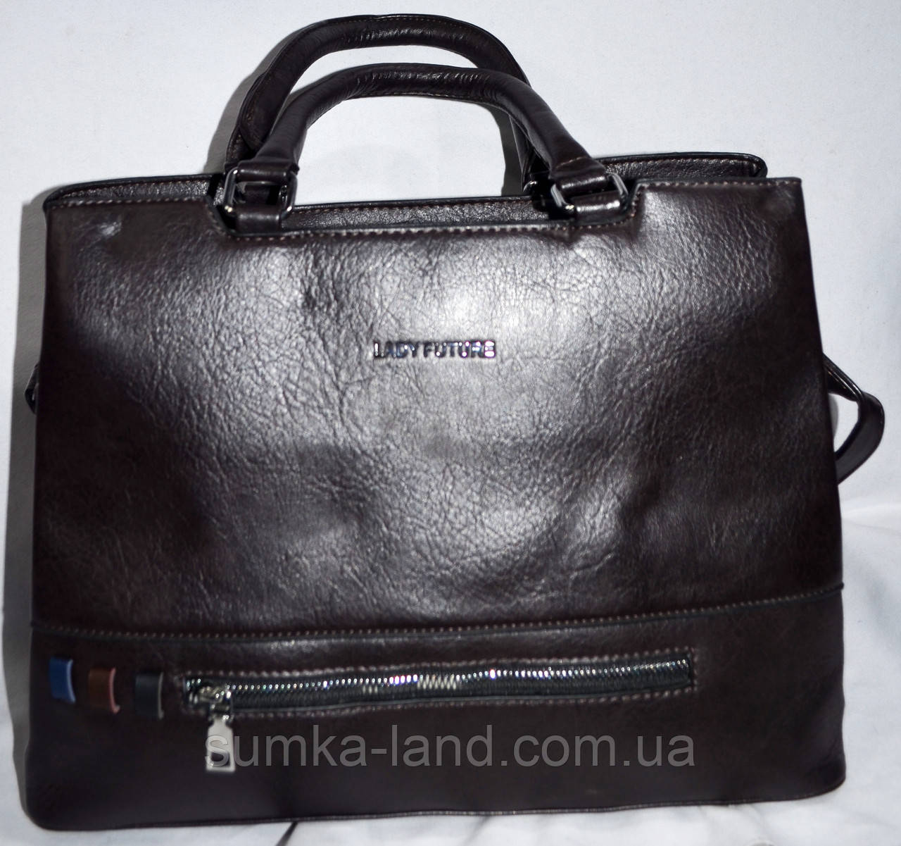 Женская каштановая сумка из кожзама с ремешком 36*27 см