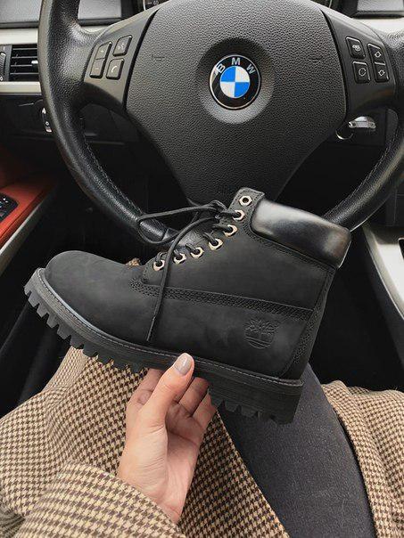 Женские ботинки Timberland black с мехом