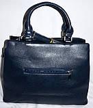 Женская серая сумка из искусственной кожи с ремешком 35*25 см, фото 3