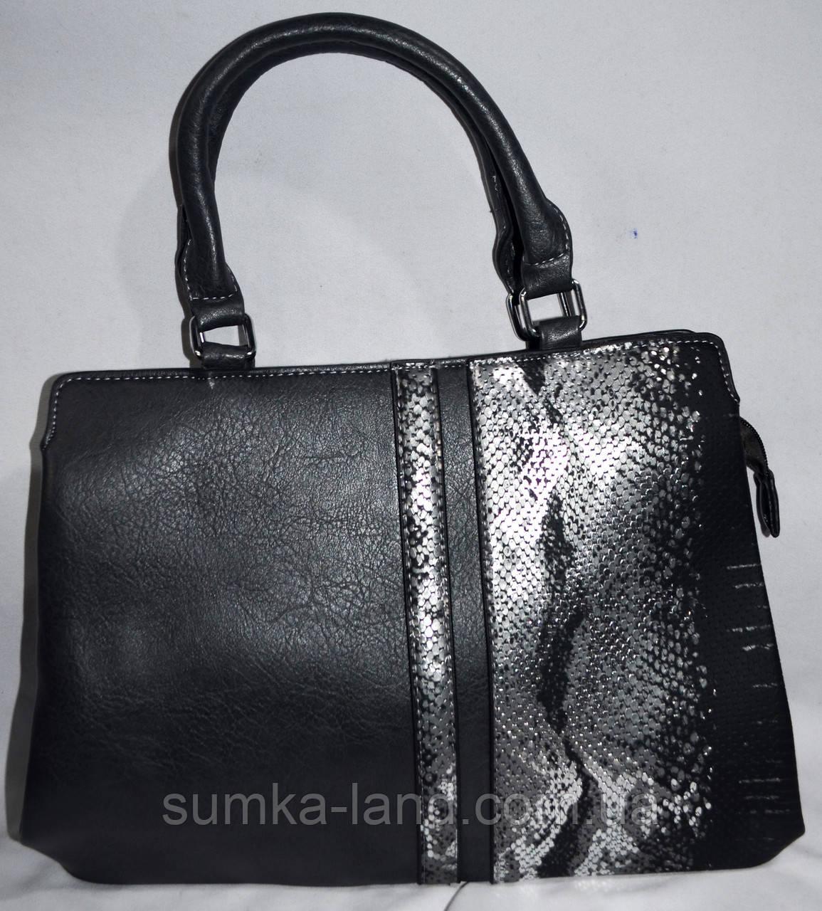 Женская серая сумка из искусственной кожи с ремешком 35*25 см