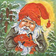 Редкая салфетка декупажная Гном со снегирём 4957