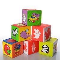 Развивающие кубики 5930  для купания, мягкие, погремушка, размер кубика 7*7см, 6шт в пакете 23*14*7
