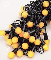 Гирлянда ШАРИКИ 18мм 40 LED, черный провод,7 м+переходник, желтый цвет