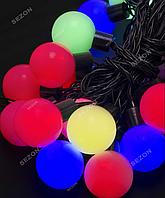 Гирлянда ШАРИКИ 42мм 20 LED, черный провод,7 м+переходник, мульти цвет