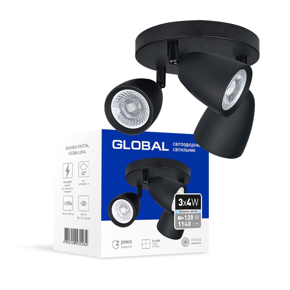 Спотовый светодиодный светильник (бра) GLOBAL 3-GSL-11241-CB 3x4W 4100K Черный