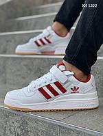 Мужские кроссовки Adidas Forum Mid (бело-красные) KS 1322
