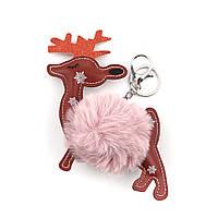 Брелок Помпон Олень, Помпон, Для рюкзака, сумки, ключей, Цвет: Розовый, Коричневый, 15 см x 12 см