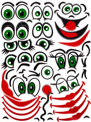 Наклейки лица для шаров 230*307мм (Т3з), фото 2