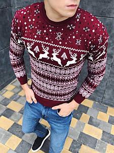 Мужской шерстяной свитер с оленями, премиум качество,отличный подарок!