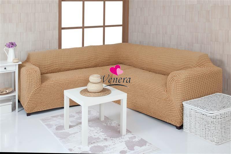 """Комплект чехлов на угловой диван без оборки """"Venera"""""""
