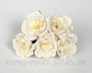 Магнолия бумажная белая 4 см, белая магнолия, бумажная магнолия 4 см Таиланд, магнолия белая, цена за 1 шт