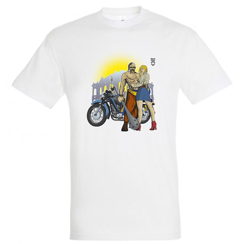 """Байкерская футболка """"Козак c булавой, Девушка, Солнце и КМЗ"""""""