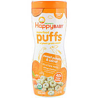 Воздушные пуфы, сладкий картофель и морковь, Nurture Inc. (Happy Baby), 60 г