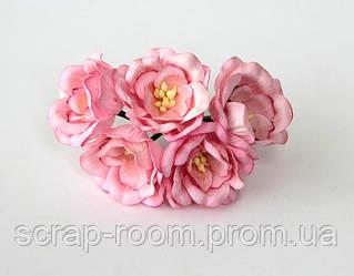 Магнолия бумажная розовая 4 см, розовая магнолия, бумажная магнолия 4 см Таиланд, магнолия 4 см, цена за 1 шт