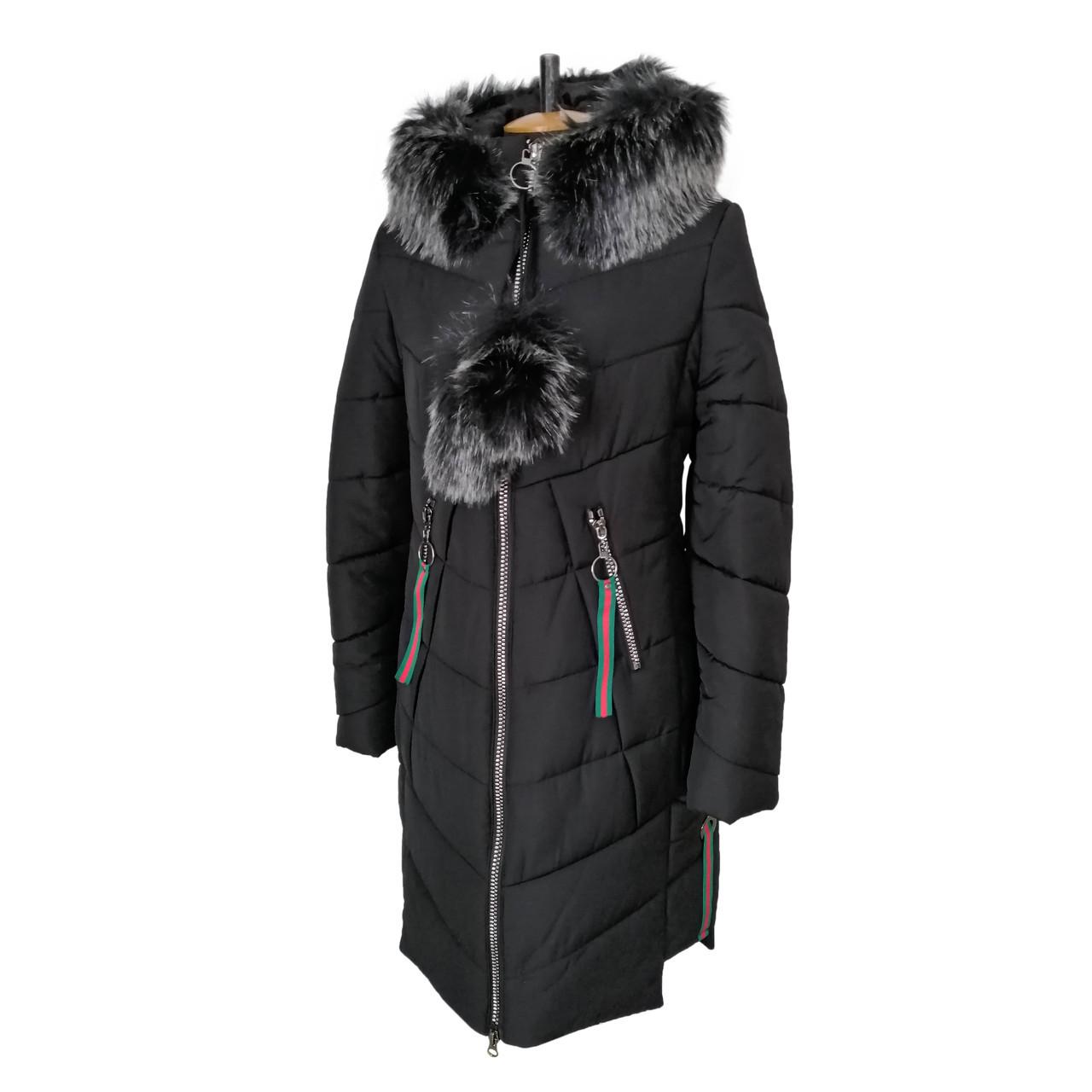 Пуховики зимние женские  молодежная 42-52 черная