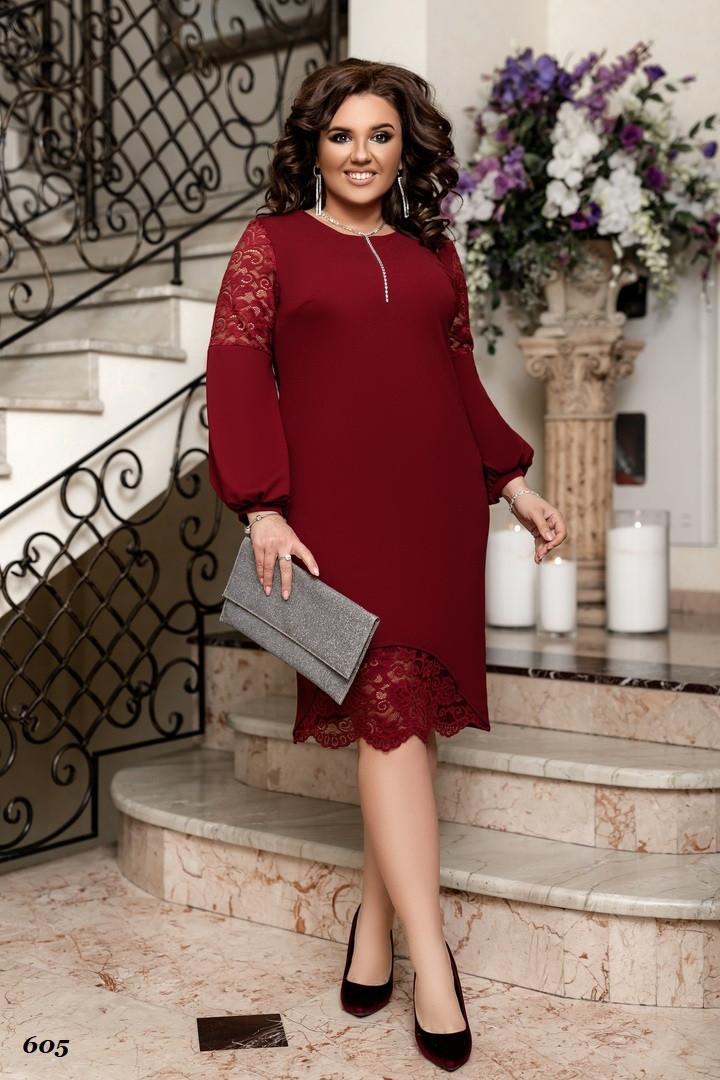 Платье женское креп-дайвинг, гипюр 50-52,54-56,58-60