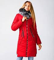 Женская зимняя куртка парка молодежная 42-52 красная