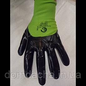 Перчатки рабочие стрейчевые покрытые гладким нитрилом (салатові)