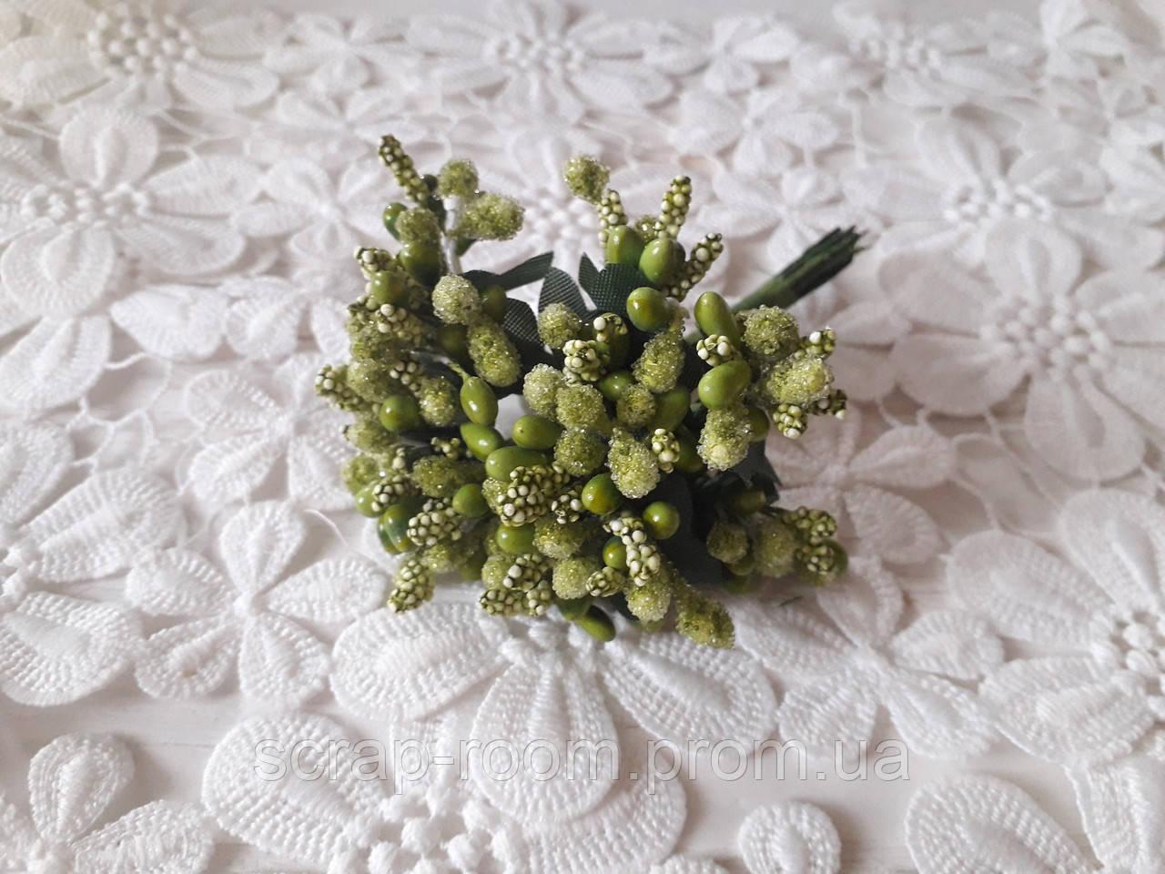 Букет из сложных тычинок оливковый, тычинки сложные, оливковый букет сложных тычинок, букет 12 шт