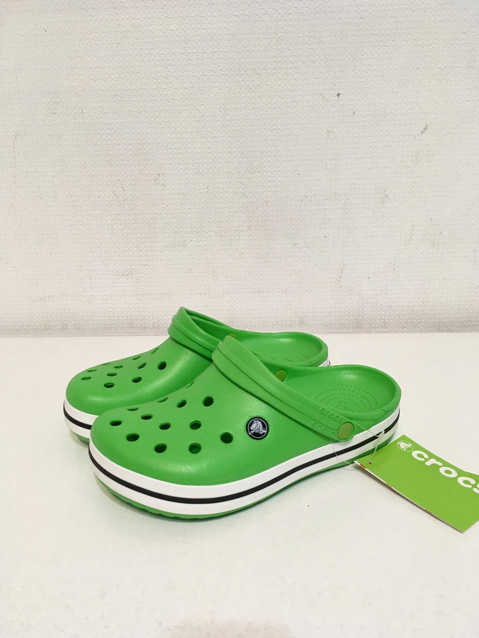 Женские кроксы летние Crocs Crocband зелёные 43 разм.