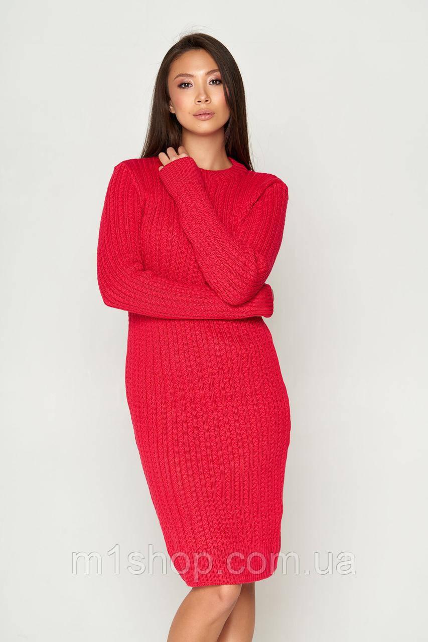 Женское теплое вязаное платье по фигуре (СБ 05 mm)