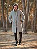 Парку куртка чоловіча зимова тепла довга світло-сіра Asos