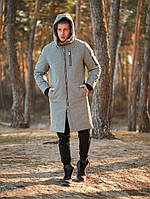 Парка куртка мужская зимняя теплая длинная светло-серая Asos