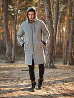 Парку куртка чоловіча зимова тепла довга світло-сіра Asos, фото 1