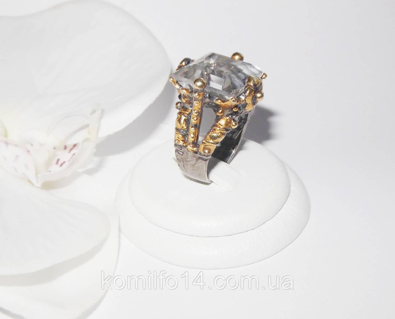 Серебряное кольцо с натуральным горным хрусталем