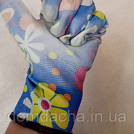 Перчатки садовые с полиуретановым покрытие цветок (Китай)
