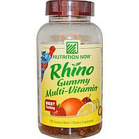 """Nutrition Now, Мультивитамин """"Конфеты носорога"""", 190 конфет в форме мишек"""