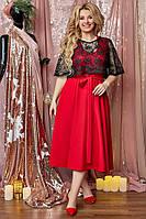 Красивое женское красное платье двойка с кружевным болеро