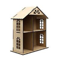 Кукольный домик двухэтажный  МДФ, 49х41х20см.