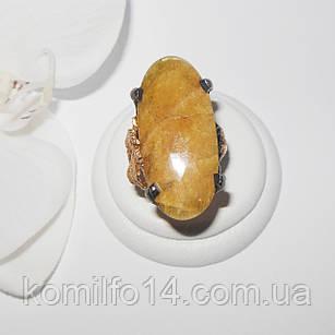Серебряное кольцо с натуральным желтым сапфиром
