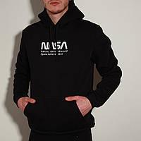 Худи толстовка с капюшоном мужской зимний теплый черный с принтом Nasa