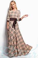 Длинное платье в клетку Gepur 18068