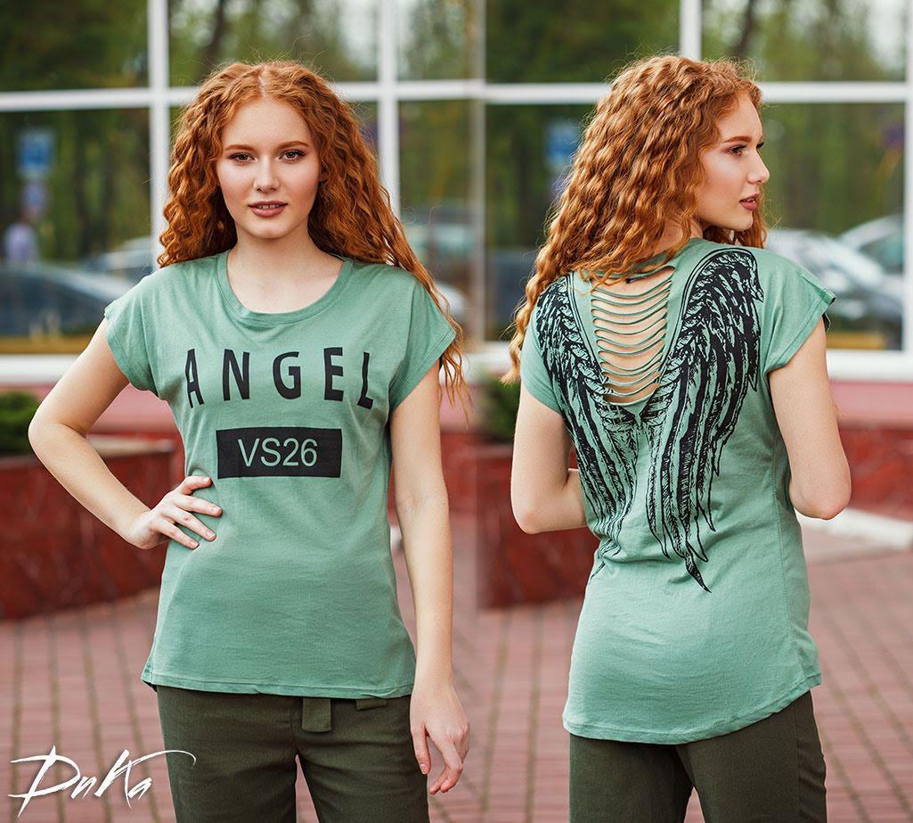 Женская футболка с крыльями на спине. АНГЕЛ.