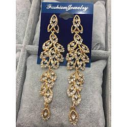 """Вечірні сережки """"Cristal"""" золотистого кольору."""
