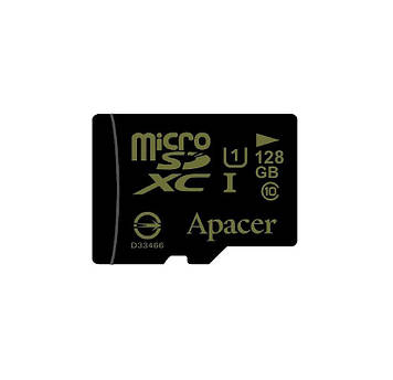 Карта памяти Apacer 128 GB microSDXC Class 10 UHS-I U1 + SD-адаптер (AP128GMCSX10U1-R)