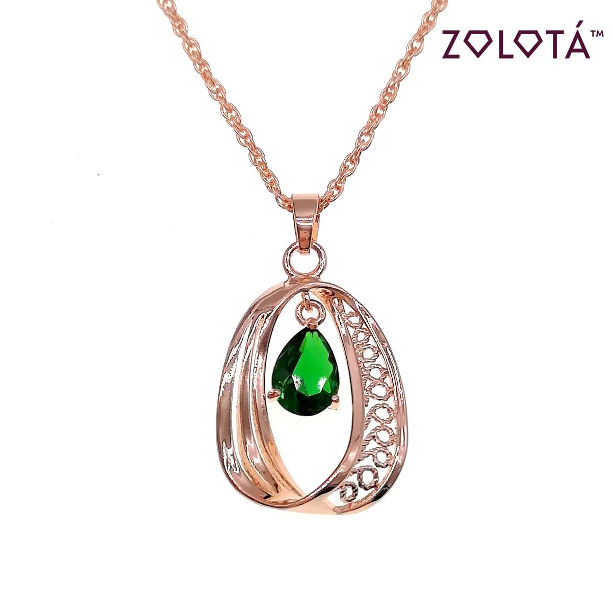 Подвеска на цепочке с зеленым фианитом (куб. цирконием), из медицинского золота, в позолоте, ЗЛ00236 (1)