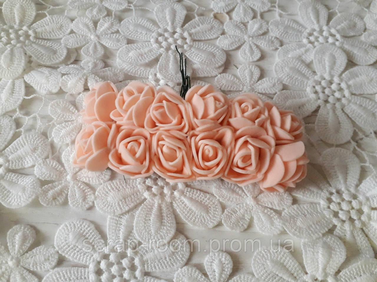 Розы латексные персиковые, персиковые розы, розы персиковый букет, персиковый декор, букет 12 шт