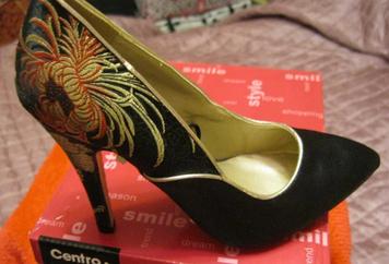 Туфли черные новые ткань атлас классика 37 ВЫШИВКА