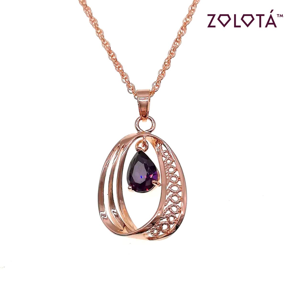 Підвіска на ланцюжку з бузковим фианитом (куб. цирконієм), з медичного золота, в позолоті, ЗЛ00234 (1)