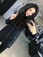 Женское теплое пальто на молнии с мехом большие размеры